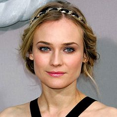 Diane Kruger, great look with soft pink lips and a cute braid + head band