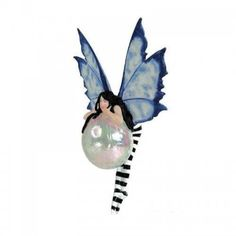 Amy Brown fairy ornament Bubble Rider I measures 5 inches tall, fairy has large blue wings, wears stripe stockings and clings to opalescent bubble. Elves Fantasy, Fantasy Art, Amy Brown Fairies, Dark Fairies, Sculpture Clay, Ceramic Sculptures, Handmade Pottery, Handmade Ceramic, Amigurumi