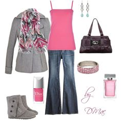 """Winter Pink"" - cute gray jacket only $29, matching Ugg boots"
