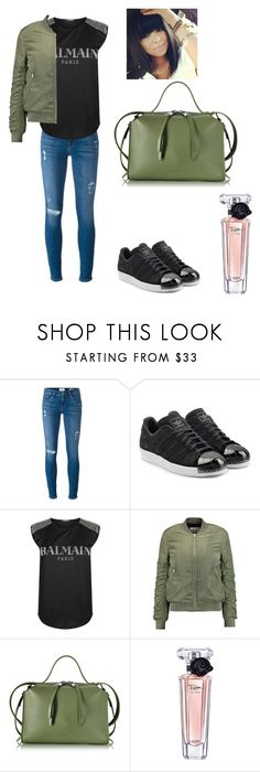 """Untitled #523"" by miss-vs ❤ liked on Polyvore featuring Frame Denim, adidas Originals, Balmain, W118 by Walter Baker, Jil Sander and Lancôme"