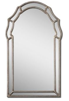 This Decorative, Arched Mirror Features An Inner And Outer Frame Finished In Antiqued Silver Leaf With A Gray Glaze.Antiqued Silver Leaf With A Gray Glaze. $217
