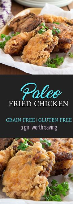 Marinated in tomato juice and then breaded with a tapioca flour mix, this Paleo Fried Chicken is juicy and tender on the inside and crispy on the outside. Primal Recipes, Real Food Recipes, Yummy Food, Healthy Recipes, Meat Recipes, Delicious Recipes, Healthy Foods, Free Recipes, Paleo Fried Chicken