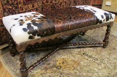 Cowhide and leather bench