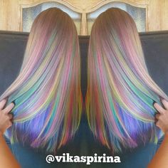 Rainbow hair color by Vika Spirina Pastel hair Mermaid hair Unicorn hair hair painting hotonbeauty.com