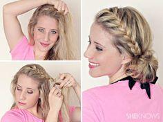 French braided low messy side bun tutorial