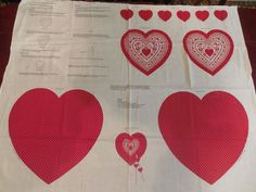 Cranston VIP Red Hearts Fabric Panel - Door / Wall Hanging Or Pillow To Make #Cranston