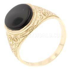 Onyx 9ct Gold Fern Pattern Signet Ring