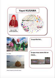 """Voici une fiche de mon """"protège-doc"""" """"arts"""".Au recto, la fiche de l'artiste car les cadres complétés en collectif et écrit de manière manuscrite et au verso, la production de l'enfant. Pour Kusama, nous avons fait les poches à doudous... d'où la photo... Yayoi Kusama, Art Lessons For Kids, Art For Kids, Art History Memes, Dot Day, Ecole Art, History Teachers, Arts Ed, Painting For Kids"""
