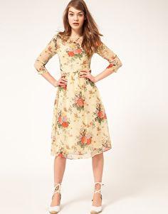 ASOS Midi Dress With Rose Print