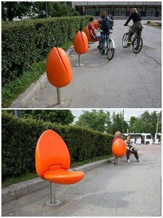 Tulip chairs can add a splash of color and brightness to any parks, town squares, quays and car parks.