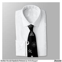 Gothic Occult Symbols Pattern Tie  #tie #giftforhim #forhim #design #necktie #giftidea #birthdaygift #giftforfriends #giftformen #giftsomethingspecial  #gifts  #gift  #goth #gothic #gothictie #gothtie