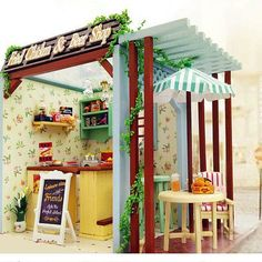Free Shipping DIY Doll House Beer Shop Dollhouse Miniatures LED Furniture Kit Light Box Gift