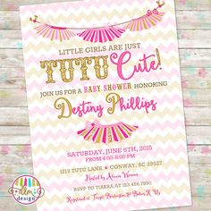 tutu cute invite pink and gold baby girl shower little girls are tutu cute printable invitation tutu cute baby shower twins invite