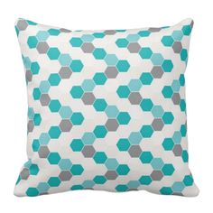 Honeycomb Pillow Decorative Throw Pillows Teal Gray ($20) ❤ liked on Polyvore featuring home, home decor, throw pillows, black, decorative pillows, home & living, home décor, teal throw pillows, grey home decor and patterned throw pillows