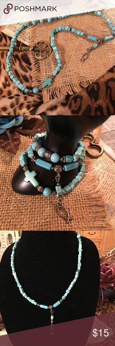 """Necklace that doubles as 3 strand bracelet This is a one of a kind jewelry piece. Hand made. It can be worn as a triple wrap bracelet or as a one strand necklace. Turquoise and silver tone. 22"""" on stretch. Jewelry Bracelets"""