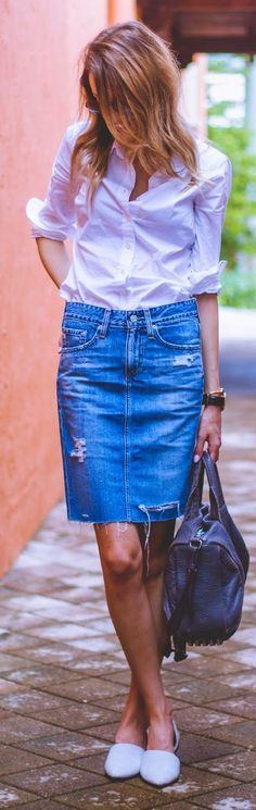 Blonde Ripped Denim Pencil Midi Skirt