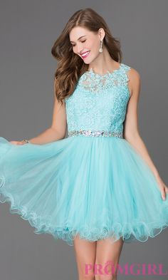 Aqua blue short sleeveless tulle skirt lace top beaded waistband dress. Perfect for a winter wonderland sweet 16 birthday party.