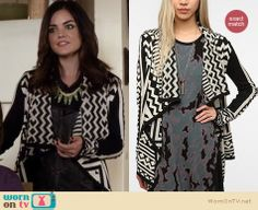 Aria's green jeans, black and white aztec/geo print jacket and fringed boots on Pretty Little Liars.  Outfit details: http://wornontv.net/12397/