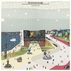 the yellow rabbit and the snow Guggenheim Helsinki competition Architecture Graphics, Architecture Drawings, Landscape Architecture, Architecture Diagrams, Landscape Designs, Architecture Portfolio, School Architecture, Photomontage, Helsinki Design
