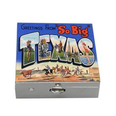 "This silver box features vintage Texas postcard art.  It measures 1.5"" x 1.5"" x .50"" and is similar to small Limoges boxes.   It is a special treasure for Texans and lovers of vintage art. Vintage Travel, Vintage Art, Texas Gifts, Marble Coasters, Postcard Art, Wine Bottle Stoppers, Business Card Holders, Texans, Baseball Cards"