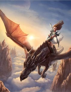 In a Land Far Far Away Picture  (2d, fantasy, dragon, lady, girl, woman, warrior)