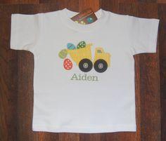 Boys Monogrammed Easter Shirt, Dump Truck, Boys Easter Shirt. $24.00, via Etsy.