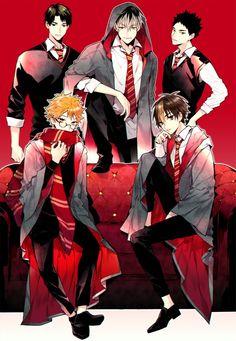 House Gryffindor: Ushijima, Bokuto, Iwaizumi, Hinata, and Nishinoya