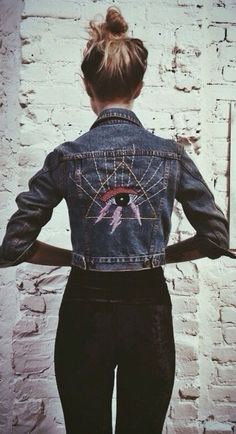 Black Skinny Jeans, Cropped Denim Jacket With Embroidered Eye Icon... Edgy Bohemain