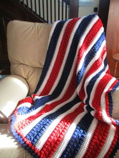 Afghan, Red White and Blue, Crochet blanket, throw blanket, Americana crochet, Patriotic, Crochet throw