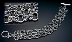 Byzantine Trellis Bracelet by Julia Lowther (Flying Fox Jewelry); oxidized sterling silver rings and clasp.