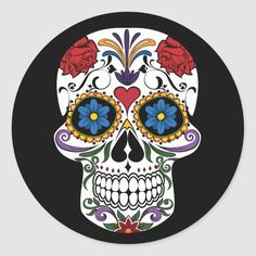 Sugar Skull Classic Round Sticker - tap/click to personalize and buy #ClassicRoundSticker  #halloween #sugar #skull #sugarskull Halloween Stickers, Halloween Gifts, Halloween Party, Halloween Supplies, Party Supplies, Butterfly Drawing, Flower Skull, Craft Party, Round Stickers