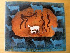 Buckstalkers San Art - Acrylic Painting Artwork by Hadeda on Etsy Sans Art, Unique Jewelry, Handmade Gifts, Artwork, Painting, Etsy, Vintage, Kid Craft Gifts, Work Of Art