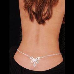 Sexy Glittery Rhinestone Gem Set Butterfly Belly Waist Chain