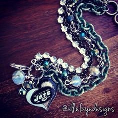 New York Jets Football Multichain Rhinestone and crystals football bracelet by alliefayedesigns
