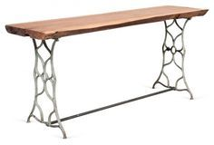 Cast Iron Table with Wooden Top, vintage.