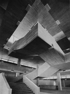 fuckyeahbrutalism: College of Economic and Social Sciences (Now University of St. Gallen, Switzerland, (Walter M. Movement In Architecture, Concrete Architecture, Space Architecture, Brutalist Design, Brutalist Buildings, Uni St Gallen, Constructivism, Stairways, College