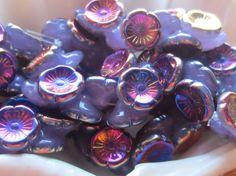 Czech Glass Flower Button Bead 12mm Milky by gypsybeadpeddler
