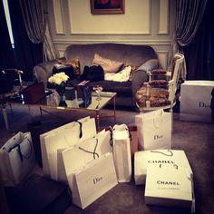 a hotel room full of chanel, dior, louis and others! <3 <3 <3
