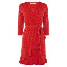 Buy Oasis Spot Ruffle Hem Wrap Dress, Multi/Red Online at johnlewis.com