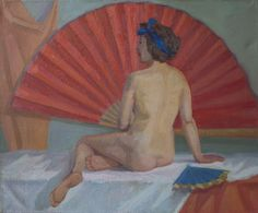 Nude with a fan. Oil painting.