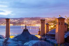 The city of Kavala at dusk, as seen from Imaret Hotel ~ Macedonia   Amazing Greece / Incroyable Grèce  by C. Drazos