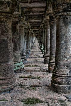 Monk at Angkor Wat via Photopin. Second image: James Wheeler. Pillars at Angkor Wat via Photopin. Cambodia Itinerary, Cambodia Travel, Cool Places To Visit, Places To Travel, Travel Destinations, Angkor Wat, Architecture Design, Temple Architecture, Concrete Posts