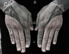 Geometry Inspired work by Thomas Hooper.  The linework intersection at the thumb is something to note.