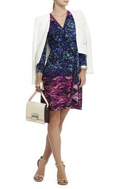Adele Printed Wrap Dress, bcbgmaxazria