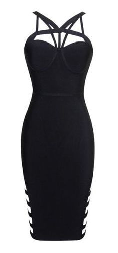 body-con fit, sexy, knee length, straps, side cut-up detail, back zipper, sexy neckline Material: 90% rayon /9% nylon/ 1% spandex Color - Black Size -X-Small, Small, Medium, Large * Dry clean * Import