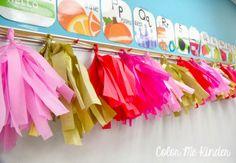 Color Me Kinder: Tissue Paper Garland tutorial on the blog!