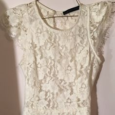 Lace dress Worn 2 times in very good condition. Lace dress a little see through but if you wear skin colored undies and no bra you'll be good! Super cute for summer Dresses Mini