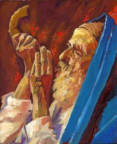 Judaica Art Shofar Ram  Horns  Jewish Art Judaica Print Of Oil Canvas Readi To Hang Yom Kippur Jewish Holidays Israeli Artist Gadi Dadon