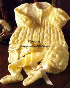 Vintage Knitting Pattern Knit Baby to Toddler Girl 4 Pc Pram Set Matinee Jacket Leggings Mitts Bonne Baby Boy Knitting Patterns, Baby Cardigan Knitting Pattern, Knitted Baby Cardigan, Baby Patterns, Sweater Hat, Pram Sets, Baby Boy Or Girl, Baby Boys, Toddler Girl