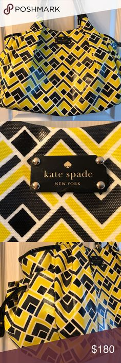 """Kate Spade Stevie diaper bag beach bag Kate Spade Stevie diaper bag in Firefly in amazing condition! This bag has plenty of pockets, easy clean surfaces, gold hardware, and zipper top closure. The outside has two side pockets and the inside has one snap, one zip and six slide pockets. It has stroller straps and adorable pacifier pouch/coin pouch. A couple of small scuffs. No dust bag or changing pad. Measures approx 11"""" x 17"""" x 7"""" with a 8"""" handle drop. Non-smoking home, non-trading home…"""